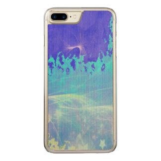 Psychedelic Mist Blue Sparkle Stars Abstract Carved iPhone 8 Plus/7 Plus Case