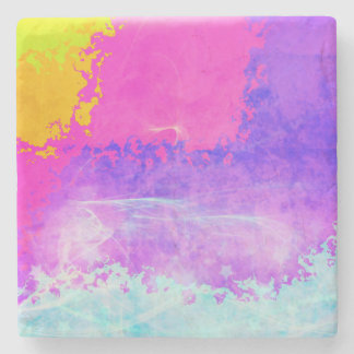 Psychedelic Mist Purple Sparkle Stars Abstract Stone Coaster
