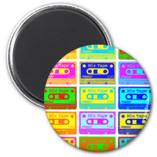 Psychedelic Mix Tape 6 Cm Round Magnet