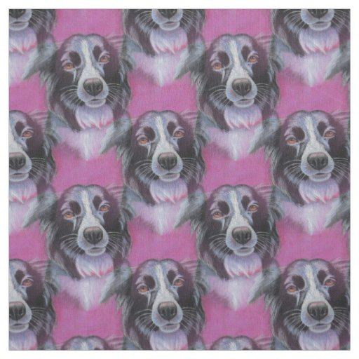 Psychedelic Moon Dog Border Collie Fabric