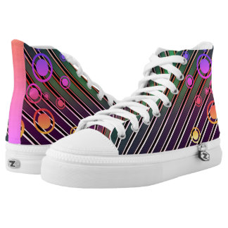 Psychedelic Multi-colourful Gold Stripes Printed Shoes