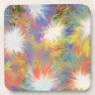 Psychedelic Multicoloured Star Abstract Art Design Coaster
