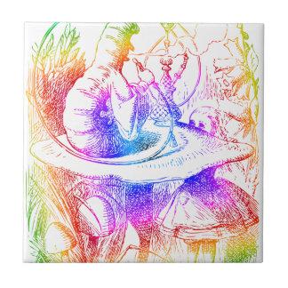 Psychedelic Mushroom Alice's Adventures Wonderland Tile