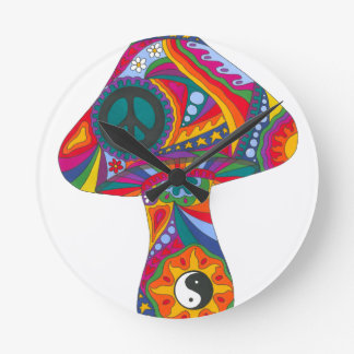 Psychedelic Mushroom Round Clock