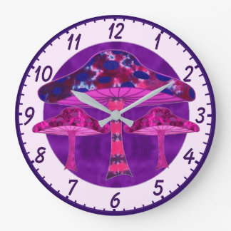 Psychedelic Mushrooms Large Clock