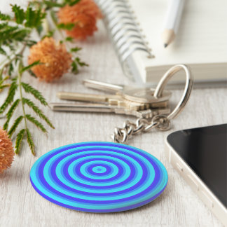 Psychedelic Neon Blue Circles Key Chain