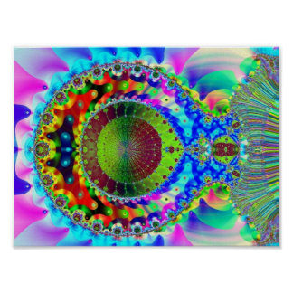 Psychedelic Neon Fractal Poster
