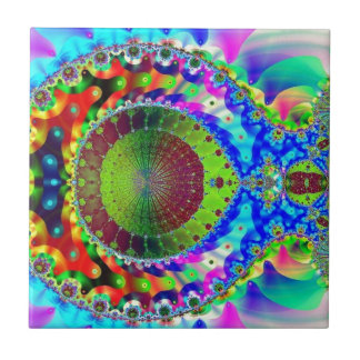 Psychedelic Neon Fractal Small Square Tile