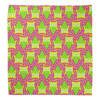 Psychedelic Neon Owl Pattern Bandanna