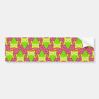 Psychedelic Neon Owl Pattern Bumper Sticker