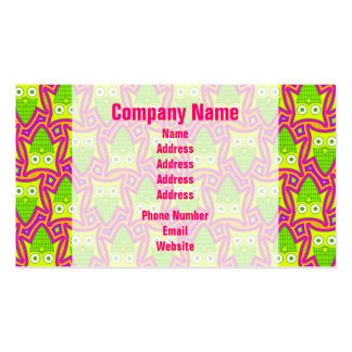 Psychedelic Neon Owl Pattern Business Card Template