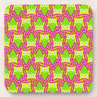 Psychedelic Neon Owl Pattern Coaster