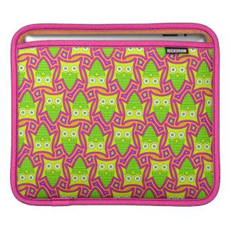 Psychedelic Neon Owl Pattern iPad Sleeve