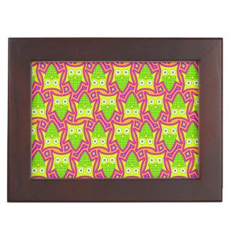Psychedelic Neon Owl Pattern Keepsake Box