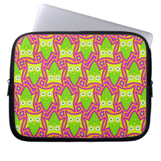 Psychedelic Neon Owl Pattern Laptop Sleeve
