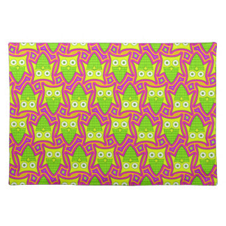 Psychedelic Neon Owl Pattern Placemat