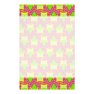 Psychedelic Neon Owl Pattern Stationery