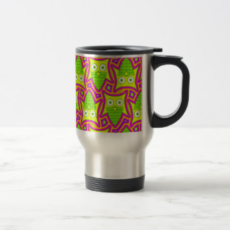 Psychedelic Neon Owl Pattern Travel Mug