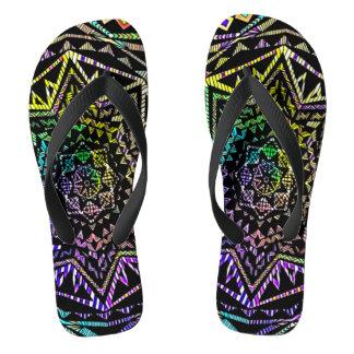 Psychedelic Neon Star Mandala Art Sandals Flip Flops