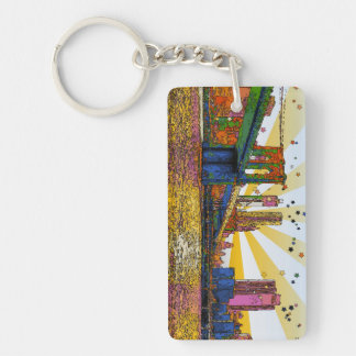 Psychedelic New York City: Brooklyn Bridge, WTC #1 Key Ring