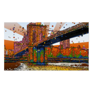 Psychedelic NYC Brooklyn Bridge 1 Business Card
