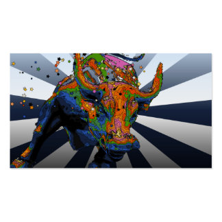 Psychedelic NYC: Charging Bull of Wall Street Business Cards