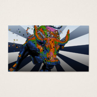 Psychedelic NYC: Charging Bull of Wall Street Business Card