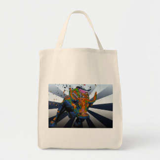 Psychedelic NYC: Charging Bull of Wall Street Grocery Tote Bag