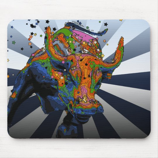 Psychedelic NYC: Charging Bull of Wall Street Mouse Mat