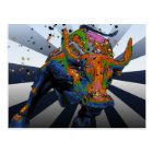 Psychedelic NYC: Charging Bull of Wall Street Postcard