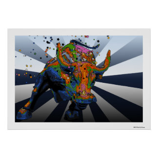 Psychedelic NYC: Charging Bull of Wall Street Poster