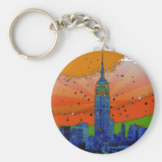 Psychedelic NYC: Empire State Building #3 Key Ring