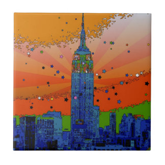 Psychedelic NYC: Empire State Building #3 Small Square Tile