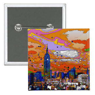Psychedelic NYC Empire State Building & Skyline A1 15 Cm Square Badge