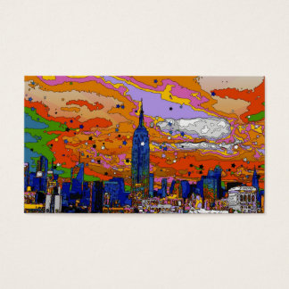 Psychedelic NYC Empire State Building & Skyline A1 Business Card