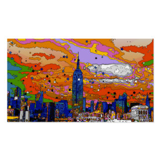 Psychedelic NYC Empire State Building & Skyline A1 Business Cards