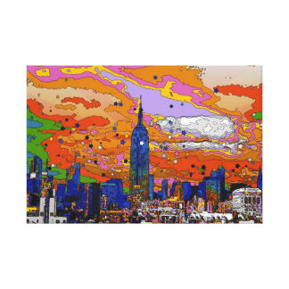 Psychedelic NYC Empire State Building & Skyline A1 Canvas Print