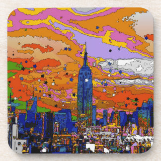 Psychedelic NYC Empire State Building & Skyline A1 Coaster