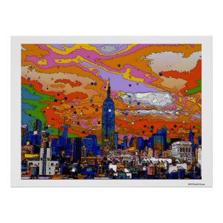 Psychedelic NYC Empire State Building & Skyline A1 Poster