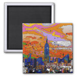 Psychedelic NYC Empire State Building & Skyline A1 Square Magnet