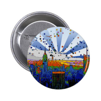 Psychedelic NYC: ESB Wide Skyline View 6 Cm Round Badge