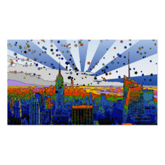 Psychedelic NYC: ESB Wide Skyline View Business Card Templates
