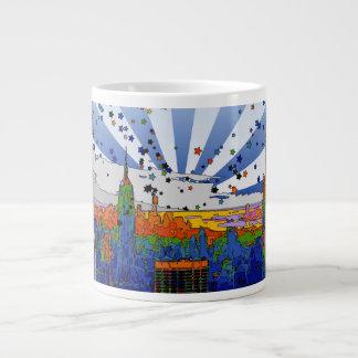 Psychedelic NYC: ESB Wide Skyline View 20 Oz Large Ceramic Coffee Mug