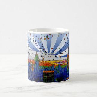 Psychedelic NYC: ESB Wide Skyline View Classic White Coffee Mug