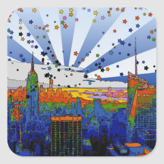 Psychedelic NYC: ESB Wide Skyline View Square Sticker
