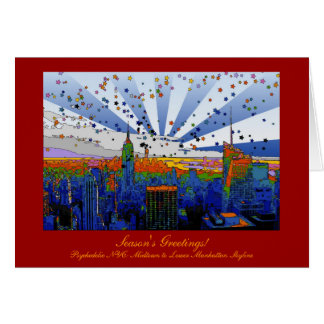 Psychedelic NYC: ESB Wide Skyline View Xmas Greeting Card