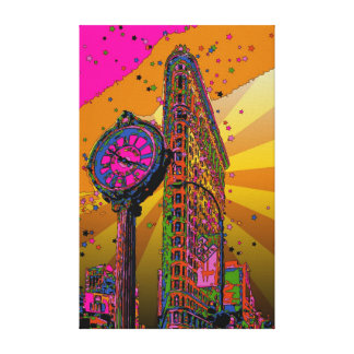 Psychedelic NYC: Flatiron Building & Clock #2B Canvas Print