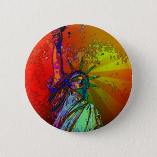 Psychedelic NYC Rainbow Color Statue of Liberty 1R 6 Cm Round Badge