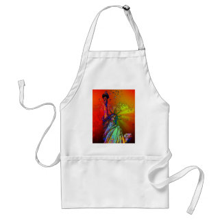 Psychedelic NYC Rainbow Color Statue of Liberty 1R Adult Apron
