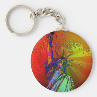 Psychedelic NYC Rainbow Color Statue of Liberty 1R Basic Round Button Key Ring